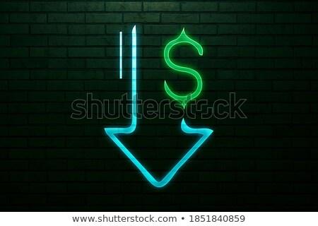 Dolar aşağı neon iş tanıtım ışık Stok fotoğraf © Anna_leni