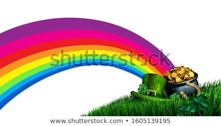 horseshoe and clover on white background. Isolated 3D illustrati Stock photo © ISerg