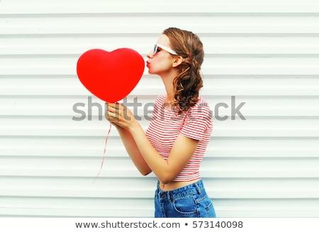 Tinilány piros léggömb valentin nap emberek mosolyog Stock fotó © dolgachov