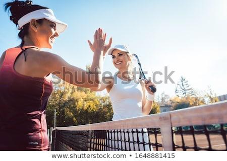 Nők pacsi jó gyufa tenisz barátságos Stock fotó © Kzenon