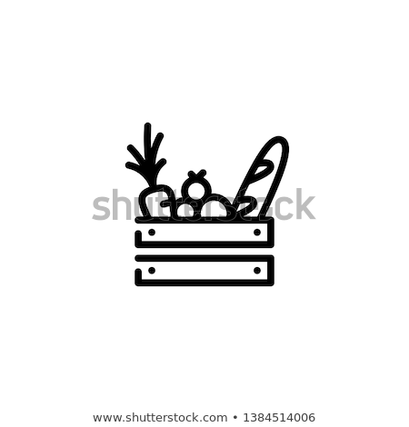 paper bag with food icon vector outline illustration Stock photo © pikepicture