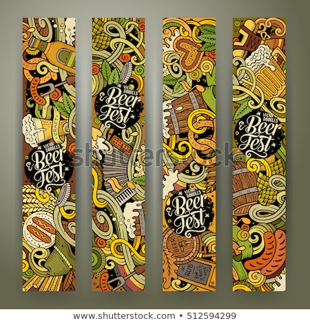 Cerveza dibujado a mano garabato banner Cartoon detallado Foto stock © balabolka