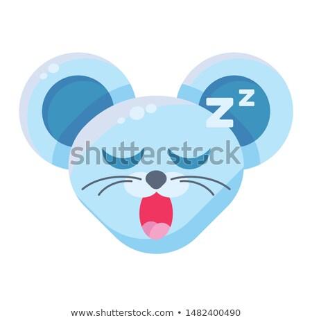 Mouse face drowsy emoticon sticker Stock photo © barsrsind