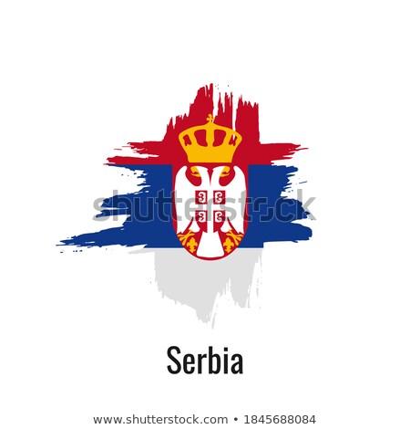 セルビア フラグ 手 白 中心 背景 ストックフォト © butenkow