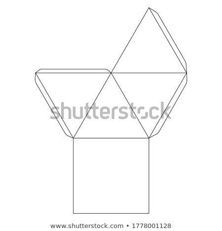 Classic paper pyramid template, trim scheme on white Stock photo © evgeny89