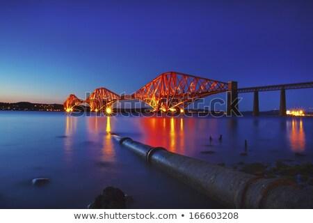 ржавые висячий мост моста промышленных реке архитектура Сток-фото © Hofmeester