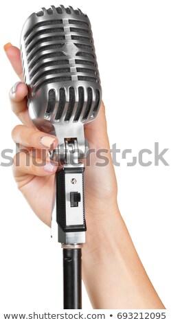 retro · cantante · nina · cantando · micrófono · música - foto stock © imarin