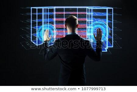 Inşaat mühendis dokunmatik ekran genç kırmızı Stok fotoğraf © stevanovicigor