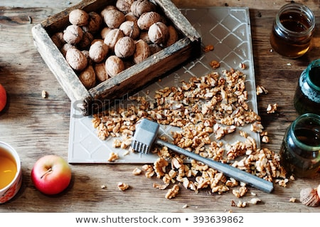 Walnuts and walnut leaf Nutcracker. Stock photo © justinb