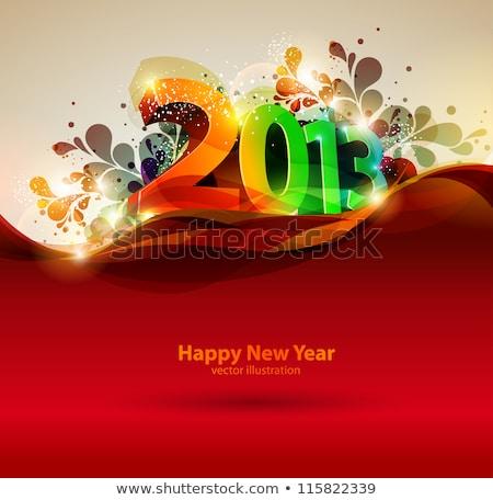 2013 új év írott homok kereszt szám Stock fotó © raywoo