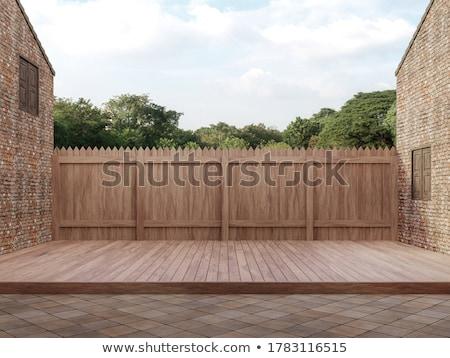 Illustration vieux mur de briques balcon maison fenêtre Photo stock © re_bekka