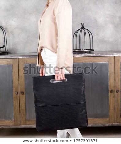 Meisje zwarte leggings handtas geïsoleerd vrouw Stockfoto © acidgrey
