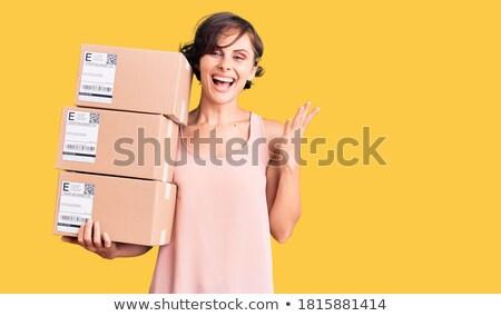 Expressz csomag illusztráció férfi fekete öltöny boríték Stock fotó © brux