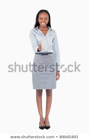Stock fotó: üzletasszony · jóváhagyás · fehér · kéz · mosoly · munka