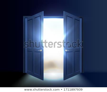 Stockfoto: Verdubbelen · Open · deur · illustratie · witte · muur · ontwerp