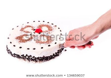Male Hand Cutting A Piece Of Tasty Coffee Chocolate Cake Foto d'archivio © Len44ik