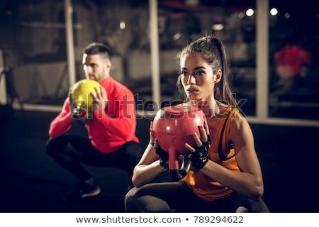 若い男 ケトルベル トレーニング ジム 男 フィットネス ストックフォト © dacasdo