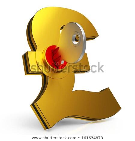 Сток-фото: Gbp Key Shows Savings And Finance