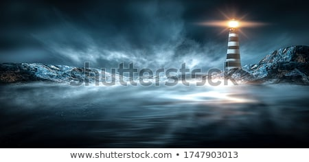 Beautiful Sunset with City Lights and Mountain Silhouette Stock photo © maxpro
