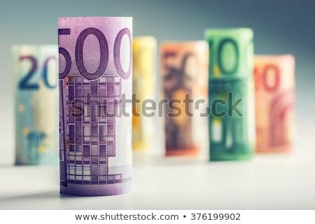Stockfoto: Rollen · euro · bankbiljetten · elastiekje · geïsoleerd · witte