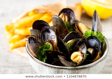 mussel with parsley and french fries Stock photo © M-studio
