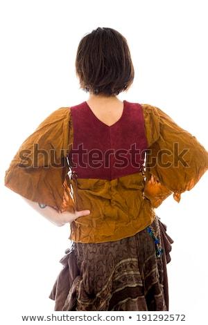 Mulher jovem em pé brasão vestir panorâmico Foto stock © bmonteny