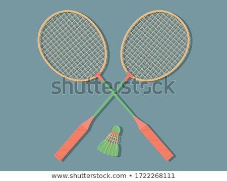 Twee badminton oude houten tafel sport zomer Stockfoto © ultrapro