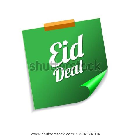 Deal groene sticky notes vector icon ontwerp Stockfoto © rizwanali3d