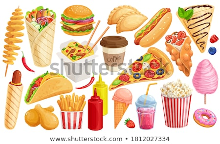 Kleur fast food hot dog icon illustratie vector Stockfoto © TRIKONA