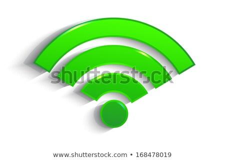 Wifi vektor zöld ikon terv háló Stock fotó © rizwanali3d