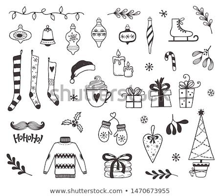 Сток-фото: рисованной · Рождества · Новый · год · Элементы · безделушка · варежки