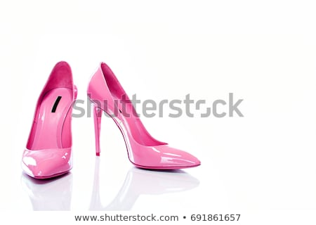 Rose élevé femme chaussures isolé blanche Photo stock © tetkoren