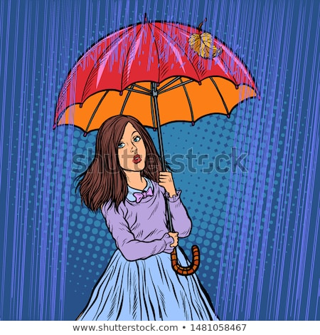 Vector of happy woman holding an umbrella. Stock photo © Morphart