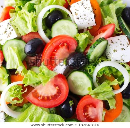 close up of vegetable salad with mozzarella cheese Stock photo © dolgachov