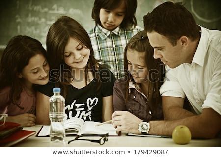 Aktív igazi gyerekek osztályterem iskola lecke Stock fotó © zurijeta