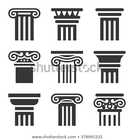 Görög oszlopok részlet építkezés sziget építészet Stock fotó © FER737NG