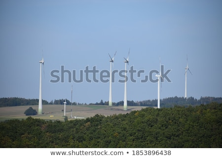 Wide landscape with wind turbine in the Eifel Stock photo © meinzahn