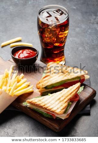 Sandwich frites françaises blanche déjeuner jambon coupé Photo stock © M-studio