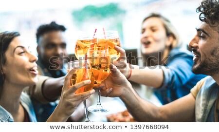 Emberek ital együtt bár illusztráció nő Stock fotó © adrenalina