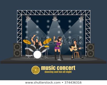 muziekfestival · menigte · silhouet · juichen · muziek · abstract - stockfoto © wavebreak_media