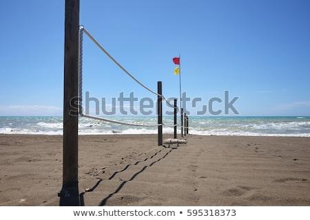 Tengerpart kerítés széf fürdik zászló kötél Stock fotó © Digifoodstock