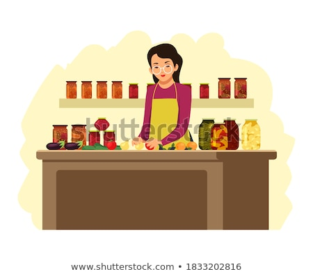 woman and girl putting apples in boxes stock fotó © is2