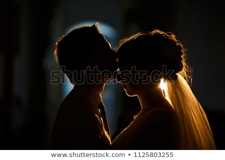 just married silhouette at sunset stock photo © adrenalina