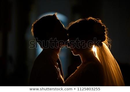 silueta · novia · novio · boda · hierba · mujeres - foto stock © adrenalina