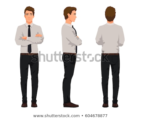 young casual man standing in line with hands crossed stock photo © feedough