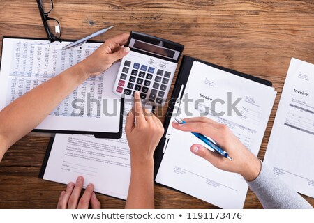 Elevated View Of Couple Calculating Bill Stock photo © AndreyPopov