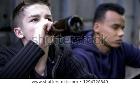 Dronken teen jongen cartoon illustratie Stockfoto © cthoman