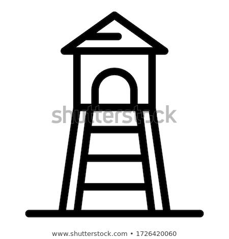Foto stock: Torre · linha · ícone · branco · negócio · projeto
