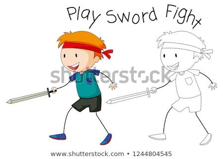 Garabato nino jugando espada lucha ilustración Foto stock © colematt
