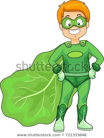 Kid Boy Green Super Hero Veggie Illustration Stock photo © lenm
